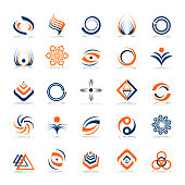 Design elements set. Abstract icons in blue and orange colors. Vector art.