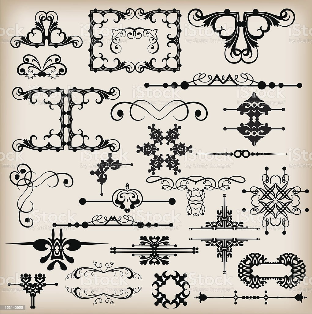 design elements set calligraphy in style baroque royalty-free stock vector art