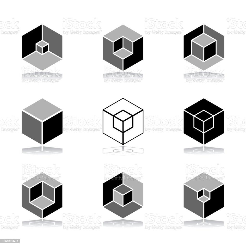 design elements set cubic shape icons stock vector art more images