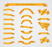 Design elements. Set of Orange vector ribbons or banners.