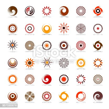 Design elements set. Abstract icons in warm colors. Vector art.