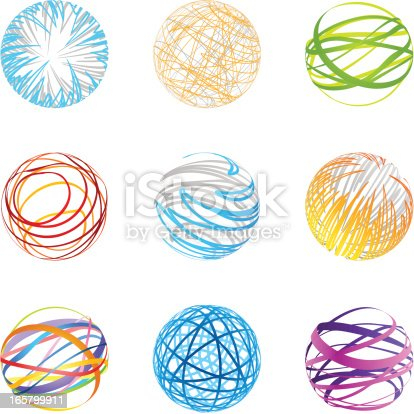 Collection of abstract graphic design elements. (nine modern circle elements).
