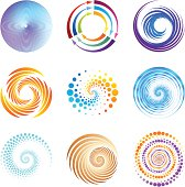 Collection of 9 abstract graphic design elements.