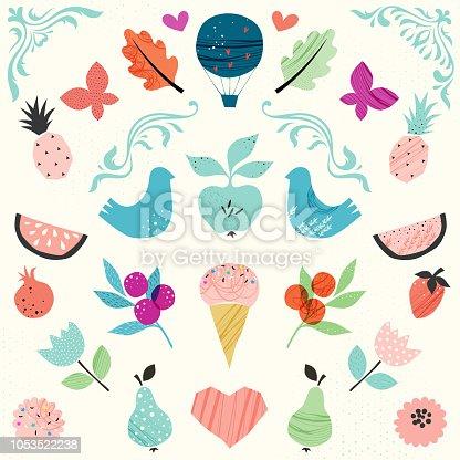 Abstract design elements. Set of vector illustrations. Dove, ornate elements, swirl, pear, butterfly, ice cream, pineapple, tulip, garnet, strawberry, oak leaf, apple, air balloon, watermelon, heart.