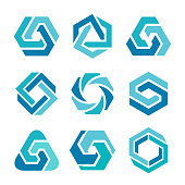 Vector illustration of the 9 design elements in blue colors