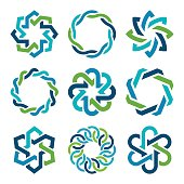 Design and icon elements in blue and green colors.