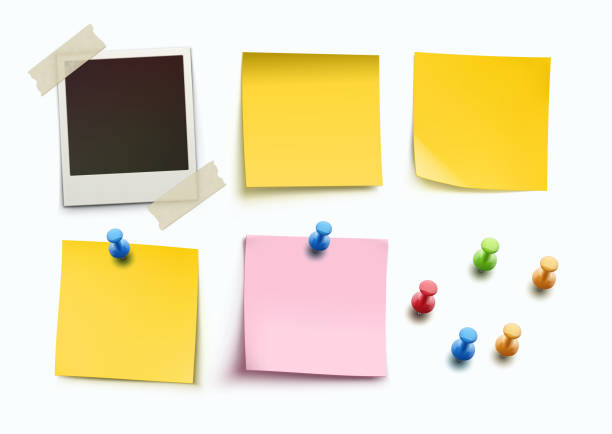 illustrazioni stock, clip art, cartoni animati e icone di tendenza di design elements - post it