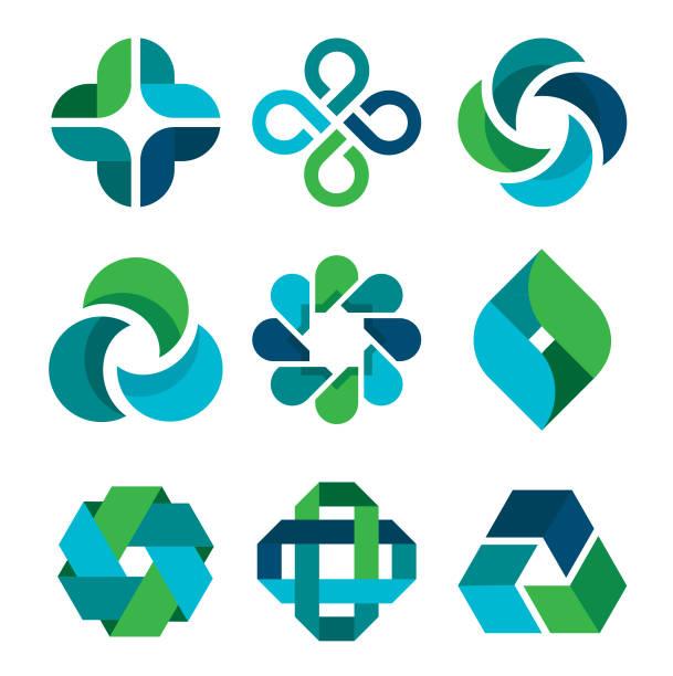 Design Elements Design elements in blue and green colors. community symbols stock illustrations