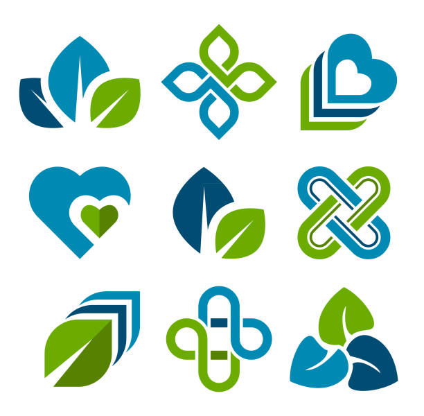 Design Elements Design elements in blue and green colors. community designs stock illustrations