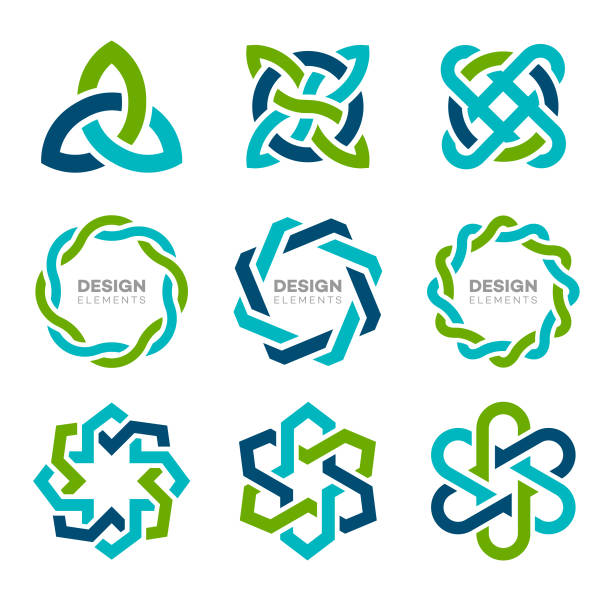 Design Elements Design and icon elements in blue and green colors. community borders stock illustrations