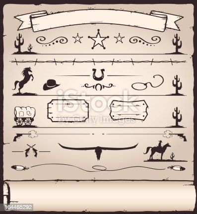 collection of design elements for wild west / western / rodeo themed designs in a wood cut style