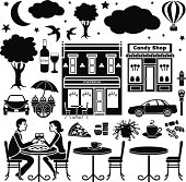 A vector illustration of design elements with an outdoor cafe in the evening theme.