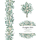 Design elements with white rose flowers and eucalyptus branches. Bouquet, seamless border, frame element. Greeting, wedding invite template. Vector illustration