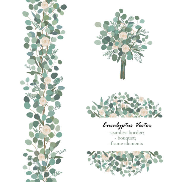 design elements with white rose flowers and eucalyptus branches. bouquet, seamless border, frame element. greeting, wedding invite template - wedding backgrounds stock illustrations, clip art, cartoons, & icons