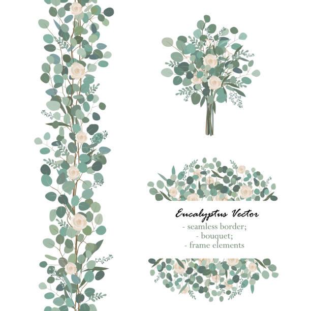 Design-Elemente mit weißen Rosenblüten und Eukalyptus Zweige. Blumenstrauß, nahtlose Grenze, Frame-Element. Gruß, Hochzeit Vorlage laden – Vektorgrafik