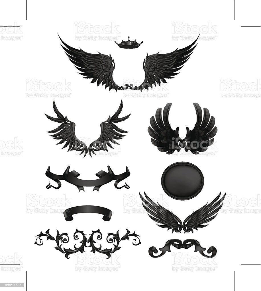 Design elements with wings vector art illustration