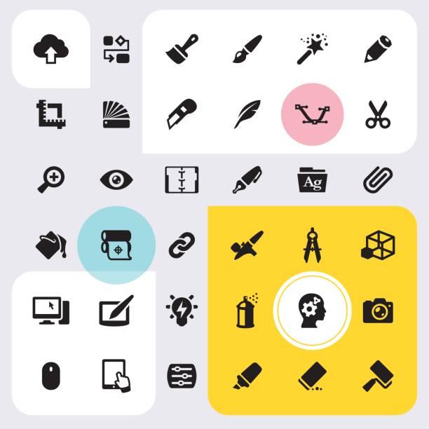 bildbanksillustrationer, clip art samt tecknat material och ikoner med utforma utrustning ikoner set - chain studio