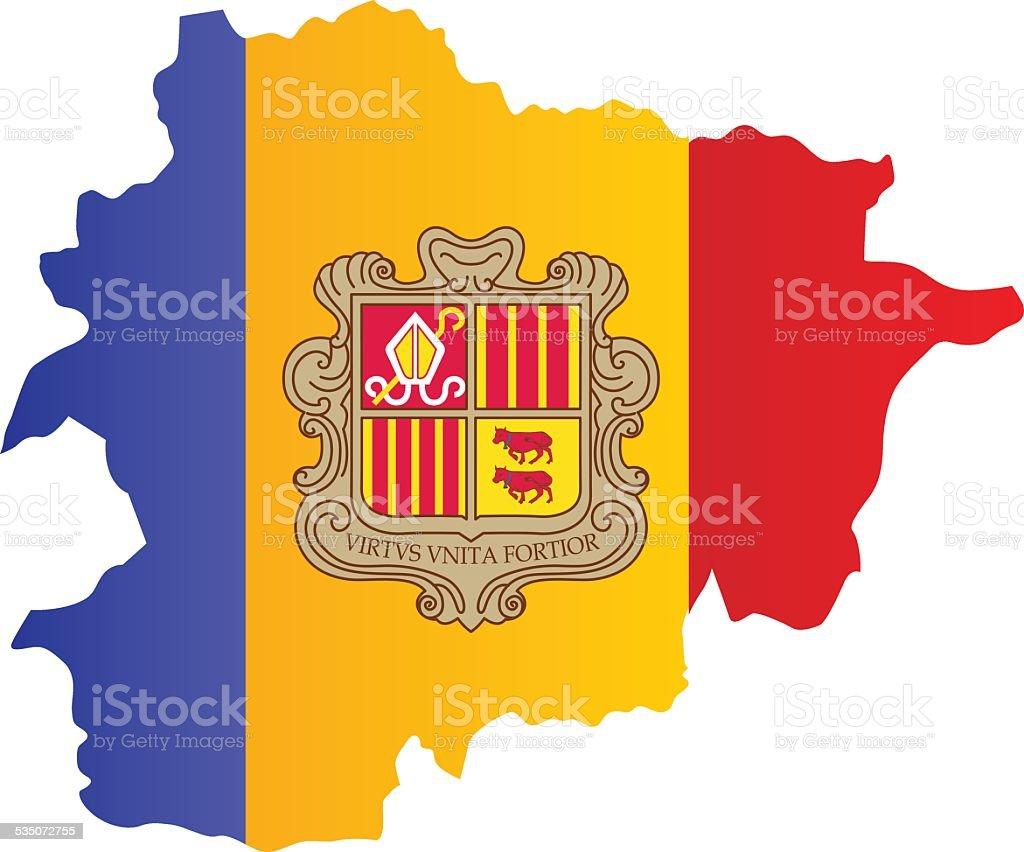 Design Flag-Map of Andorra vector art illustration