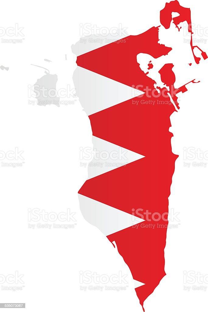 Design Flag-Map of Bahrain vector art illustration