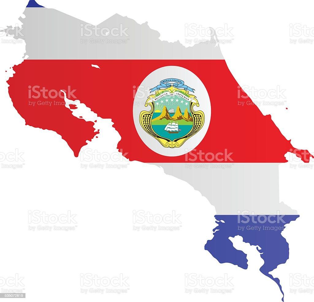 Diseño de bandera de Mapa de Costa Rica - ilustración de arte vectorial