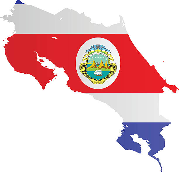 Design Flag-Map of Costa Rica vector art illustration