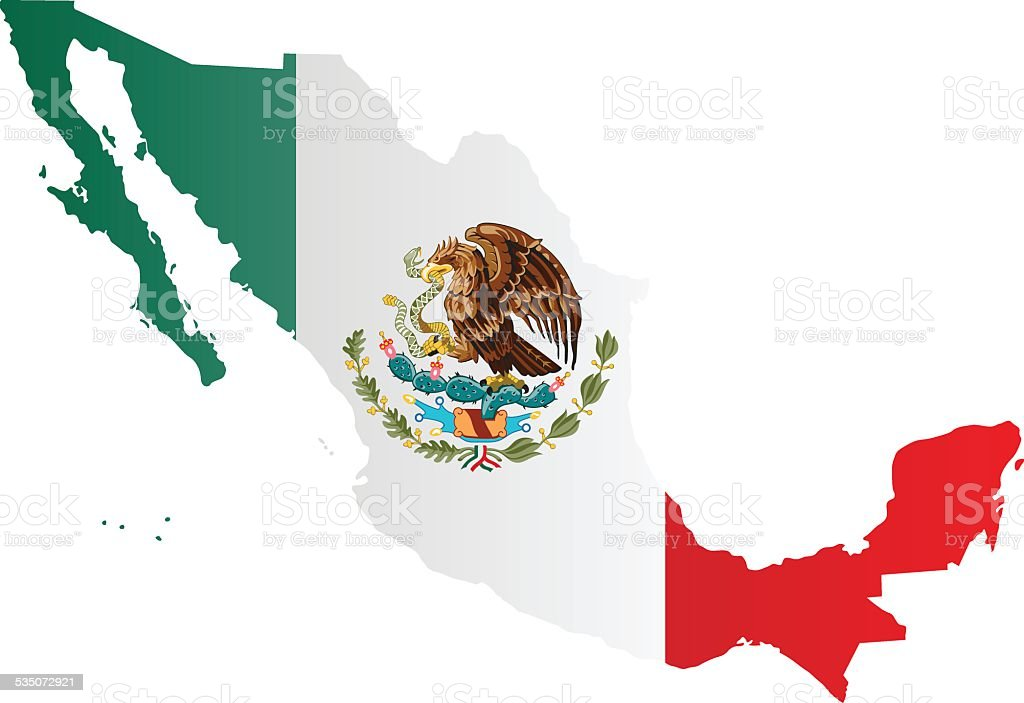 Design Flag-Map of Mexico vector art illustration