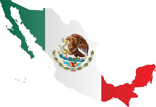 Bandeira de Design de mapa do México - ilustração de arte em vetor