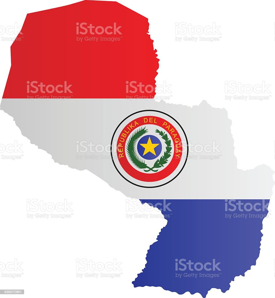 Diseño de bandera de mapa de Paraguay - ilustración de arte vectorial
