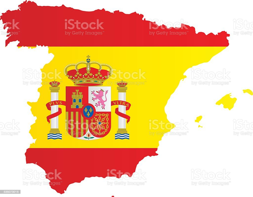 Design Flag-Map of Spain vector art illustration