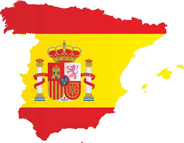 Conception de drapeau et carte de l'Espagne - Illustration vectorielle