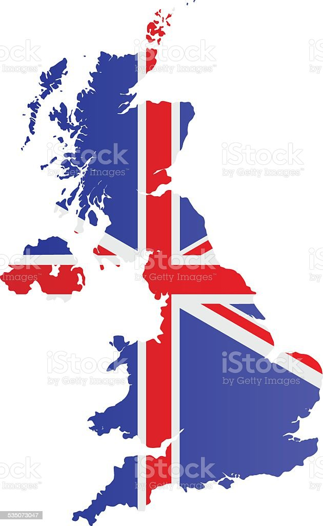 Design Flag-Map of United Kingdom vector art illustration