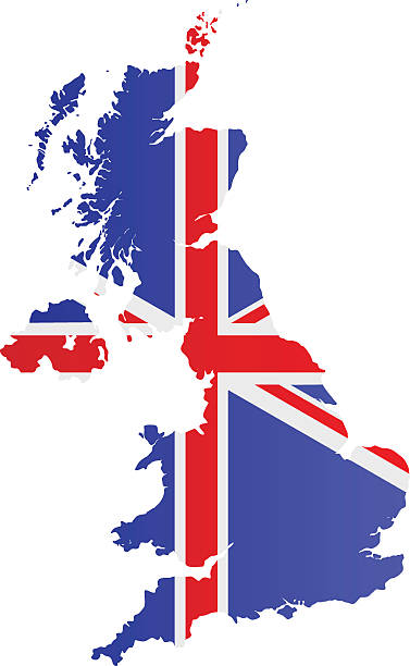design flag-map of united kingdom - union jack flag stock illustrations, clip art, cartoons, & icons
