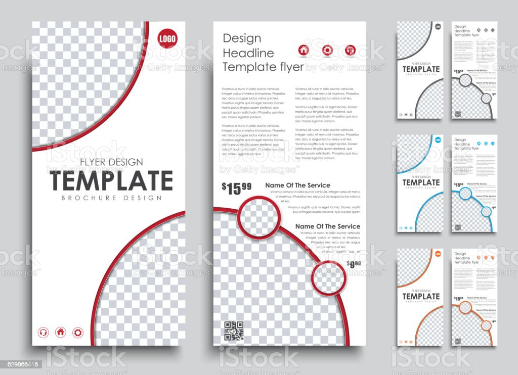Design flyers narrow size 4 color options. vector art illustration