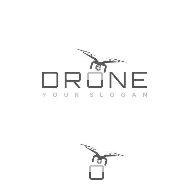 ilustrações de stock, clip art, desenhos animados e ícones de design flying drone on the font o for your best business symbol - drone