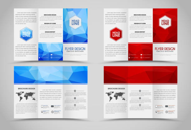 design folding brochures with polygonal elements - 접힌 stock illustrations