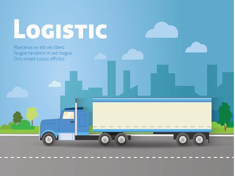 Design for banner, truck. Color flat icons. Dump truck, tank