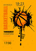 Design for basketball. Poster for the tournament. Abstract background. Streetball. Hand drawing texture, grunge style.