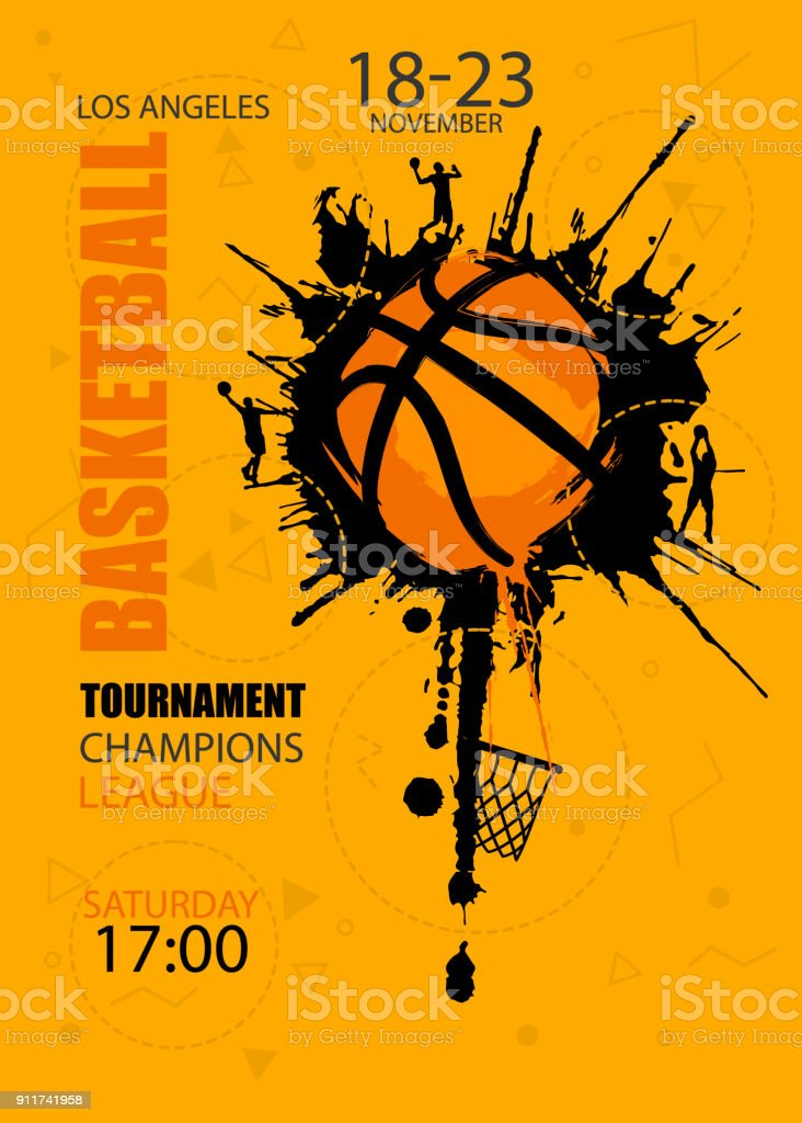 Design for basketball. Poster for the tournament. Abstract background. Streetball. Hand drawing texture, grunge style. vector art illustration