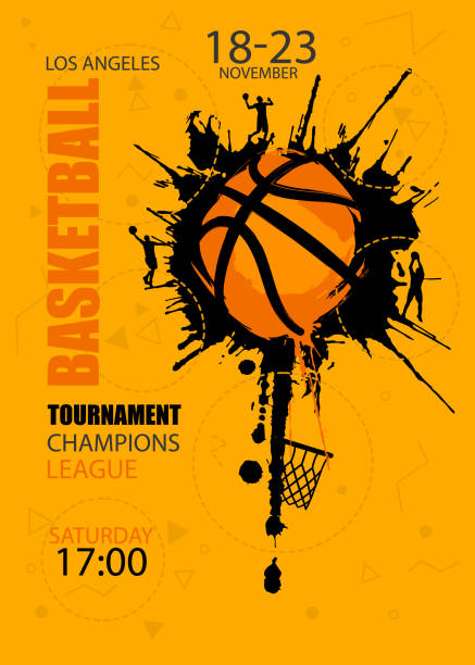 Bекторная иллюстрация Design for basketball. Poster for the tournament. Abstract background. Streetball. Hand drawing texture, grunge style.