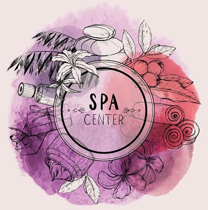 Design for beauty salon. Watercolor design