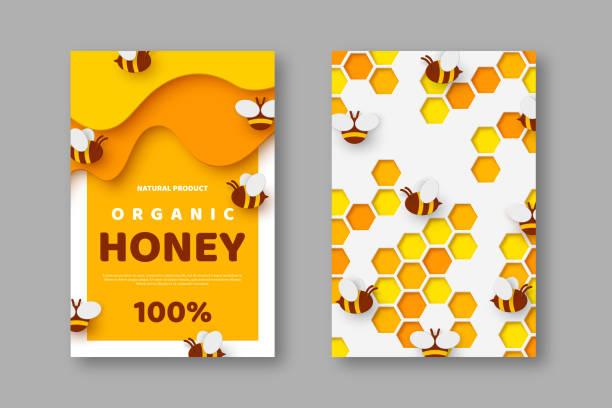 illustrazioni stock, clip art, cartoni animati e icone di tendenza di design for beekeeping and honey product - favo