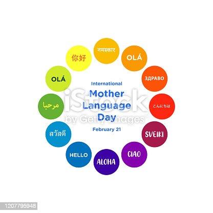 istock Design for celebrating international Mother language day 1207795948