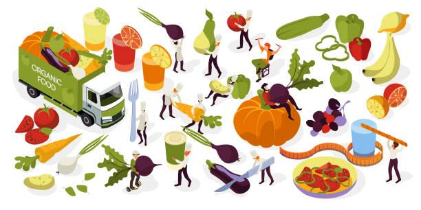 illustrations, cliparts, dessins animés et icônes de design pour les aliments frais à la ferme, des fruits et légumes, livraison et cuisson des aliments sains. concepts d'isométrique de vecteur - infusion pamplemousse