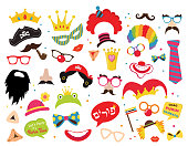 Design for Jewish holiday Purim with masks and traditional props. Vector illustration - Vector -Happy purim greeting in hebrew