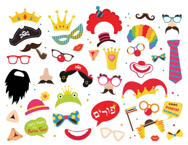 design for jewish holiday purim with masks and traditional props. vector illustration - vector -happy purim greeting in hebrew - purim stock illustrations, clip art, cartoons, & icons
