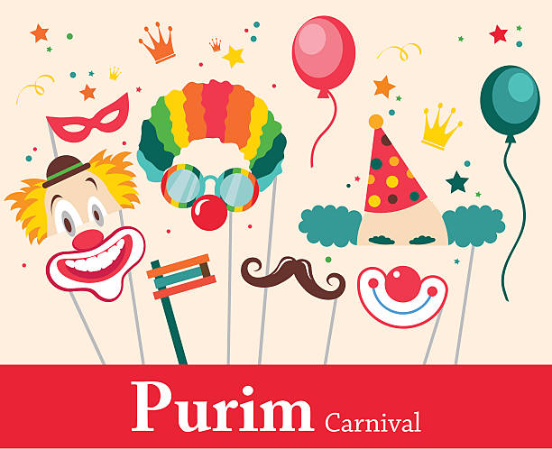 design for jewish holiday purim with masks and traditional props. - purim stock illustrations, clip art, cartoons, & icons