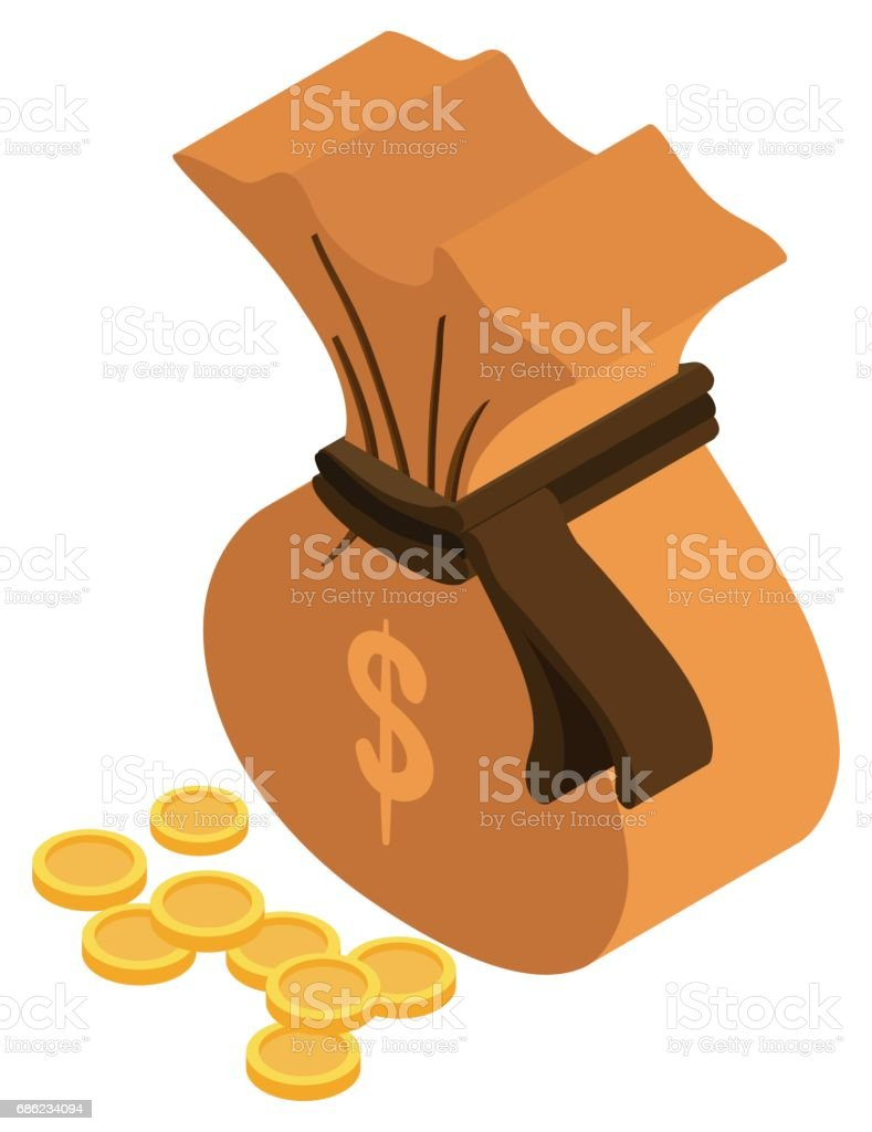 3D design for moneybag and golden coins