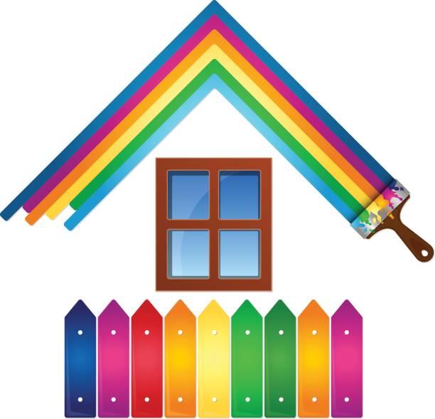 illustrations, cliparts, dessins animés et icônes de design pour la maison de la peinture - logo peintre en batiment