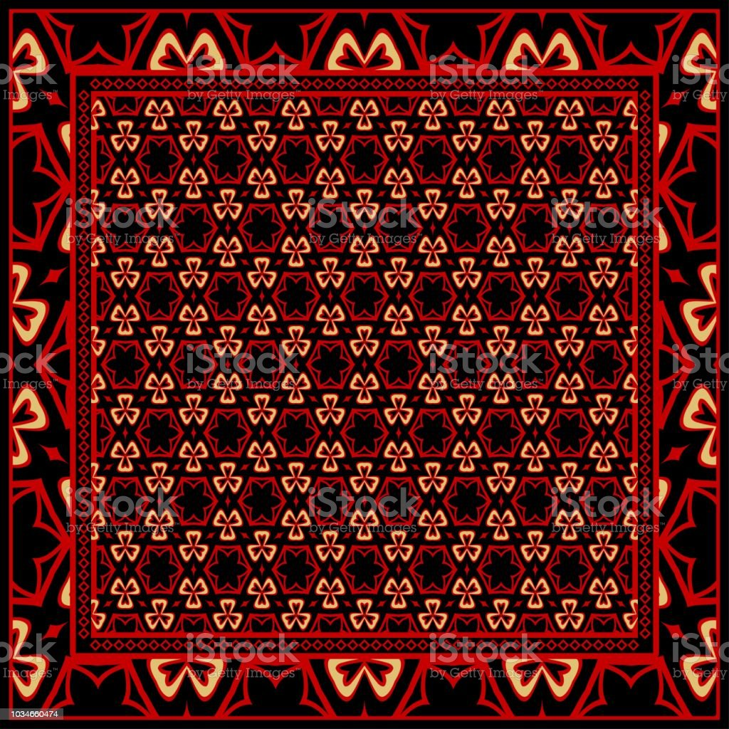 Design for square fashion print. For pocket, shawl, textile,...