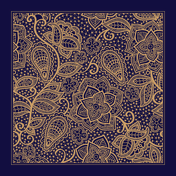 Design for square pocket, shawl, textile. Paisley floral pattern Design for square pocket, shawl, textile. Lace floral pattern indonesia stock illustrations